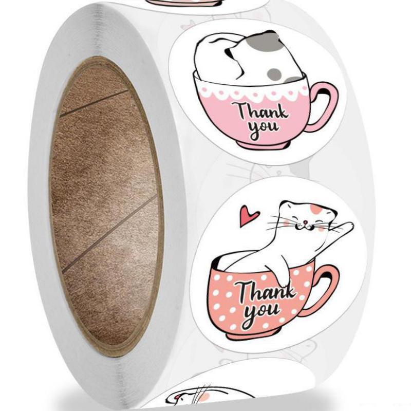 kawaii-cat-grazie-adesivi-500pcs-etichette-adesive-rotonde-per-animali-da-cartone-animato-per-biglietti-d'auguri-articoli-da-regalo