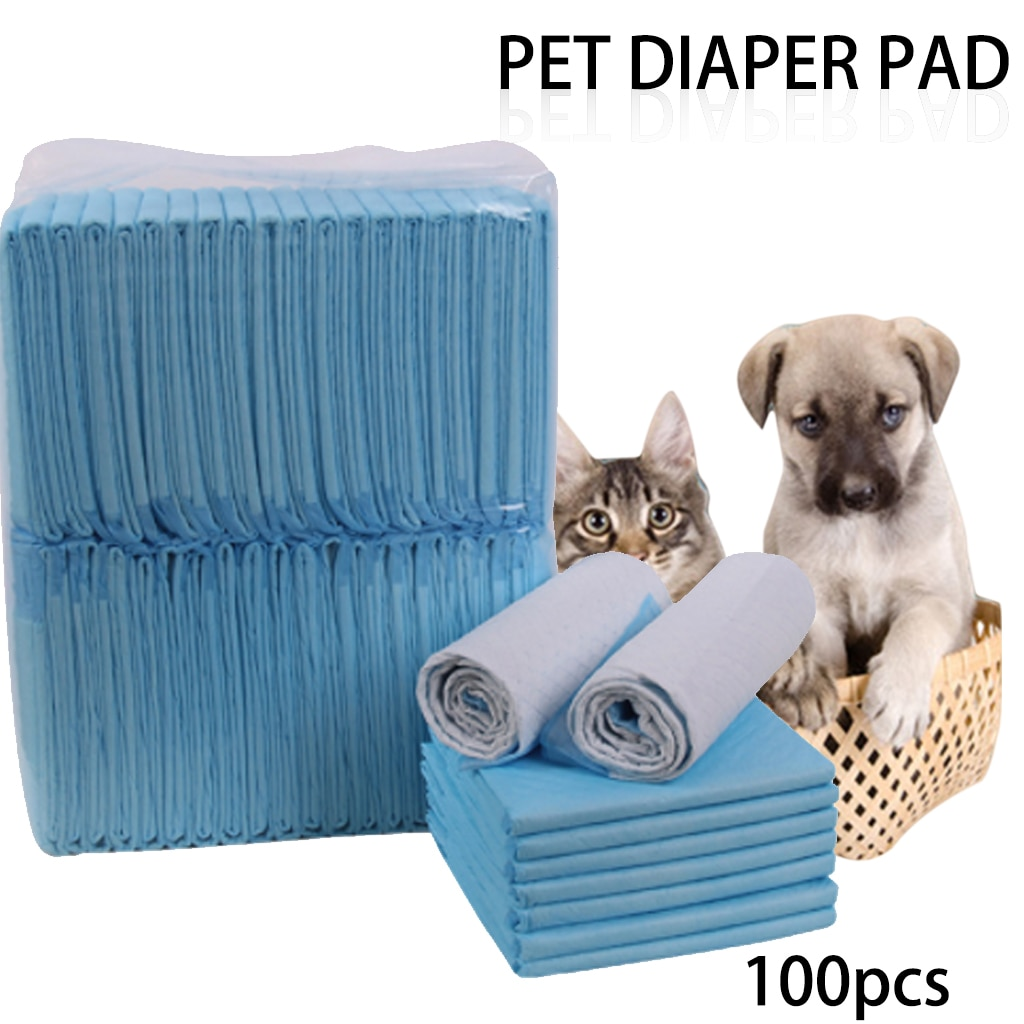 100 ps/lote pañales para mascotas Super absorbentes para entrenamiento de perros, almohadillas de orina para perros cachorros, pañales desodorantes de limpieza, suministros para mascotas