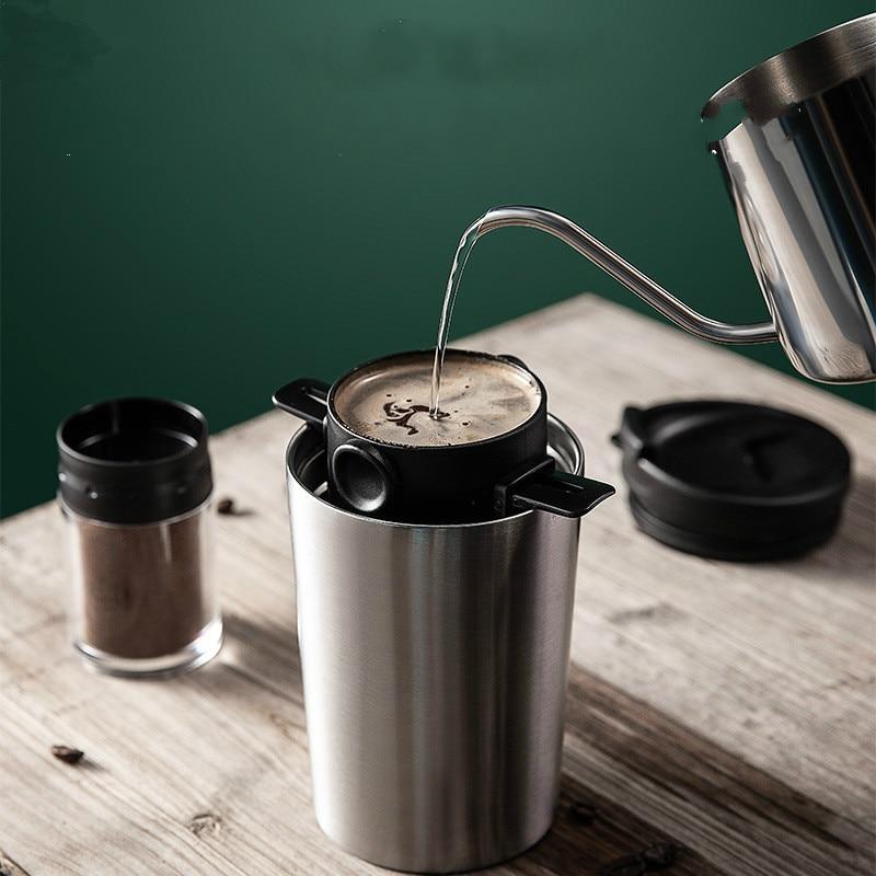 اليد فنجان القهوة المحمولة الفولاذ المقاوم للصدأ المحمولة السفر كوب فلتر العزل معلقة الأذن تصفية الساعة الرملية مجموعة