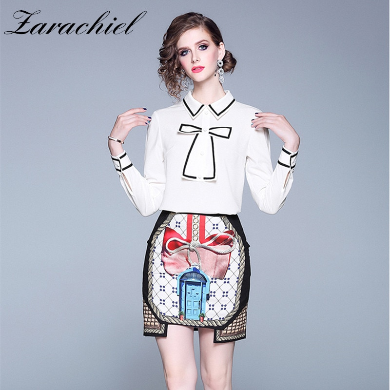 2019 Autumn Sweet Skirt Suit Women's Long Sleeve Bowknot White Chiffon Shirt + Plaid Printed Mini Irregular Skirt Two Pieces Set