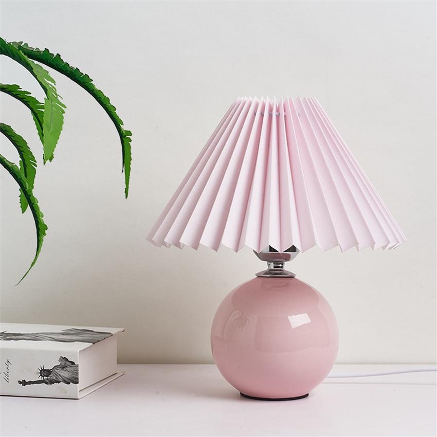 Casa decoração lâmpadas de mesa cerâmica para sala estar saia plissada abajur luzes da mesa quarto lâmpada cabeceira e27 lâmpadas