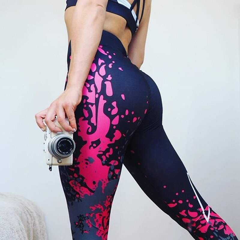 Sport Leggings Women Yoga Pants Workout Fitness Clothing Jogging Running Pants Gym Tights Stretch Print Sportswear Yoga Leggins