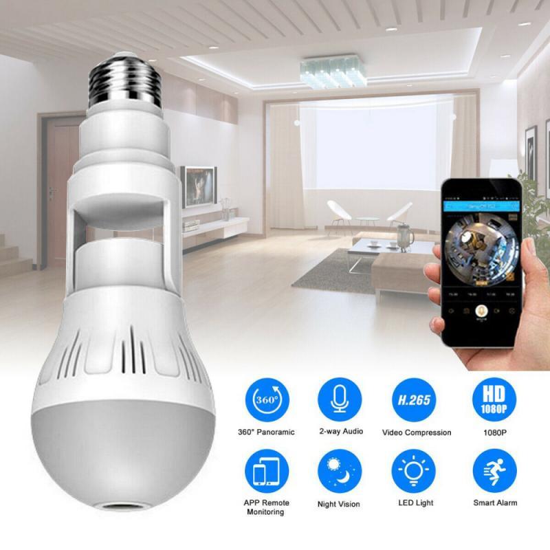 E27 HD 1080P Wifi IP Camera ، لمبة الإضاءة ، تطبيق التحكم عن بعد ، كاميرا أمان بانورامية 360 درجة ، رؤية ليلية ، إنذار ذكي