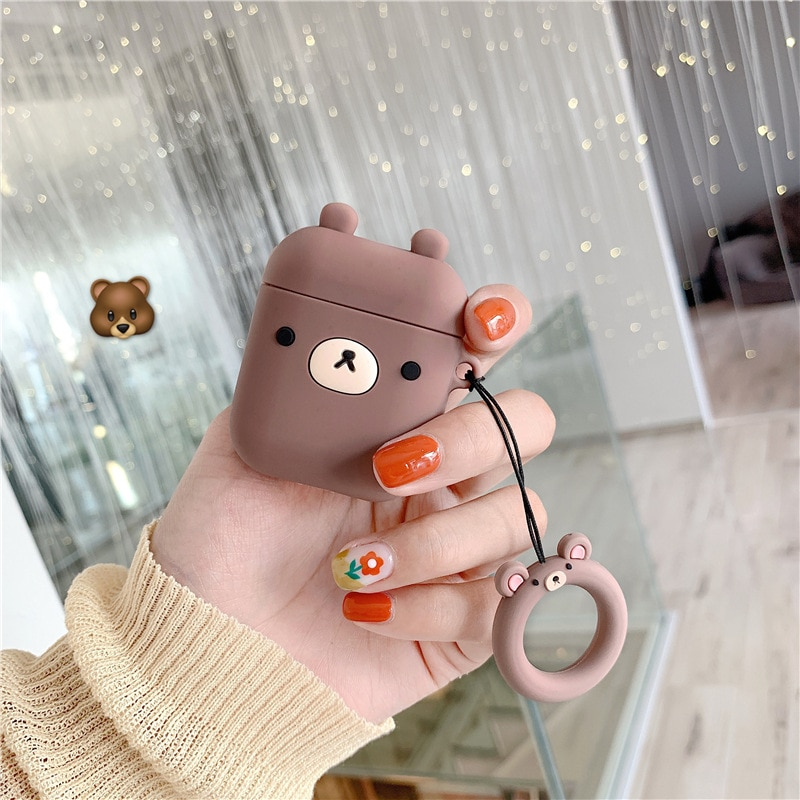 Cute earphone case holder protective plush for Apple headset sleeve airpods 1 2 generation wireless Bluetooth ins korean cartoon enlarge