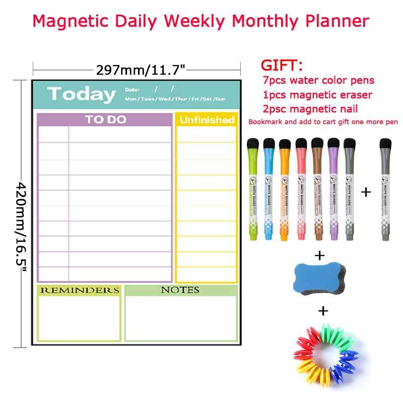 A3Size Dry Erase Magnetic Weekly&Monthly Planner Calendar Whiteboard Message fridge memo magnet lose weight Bulletin White Board