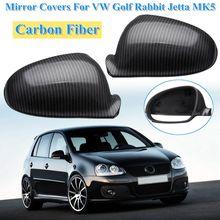 Fibra de carbono lateral asa espelho tampas para golf rabbit gti r32 padrão para vw jetta mk5 2006 2007 2008 2009 1k0857537