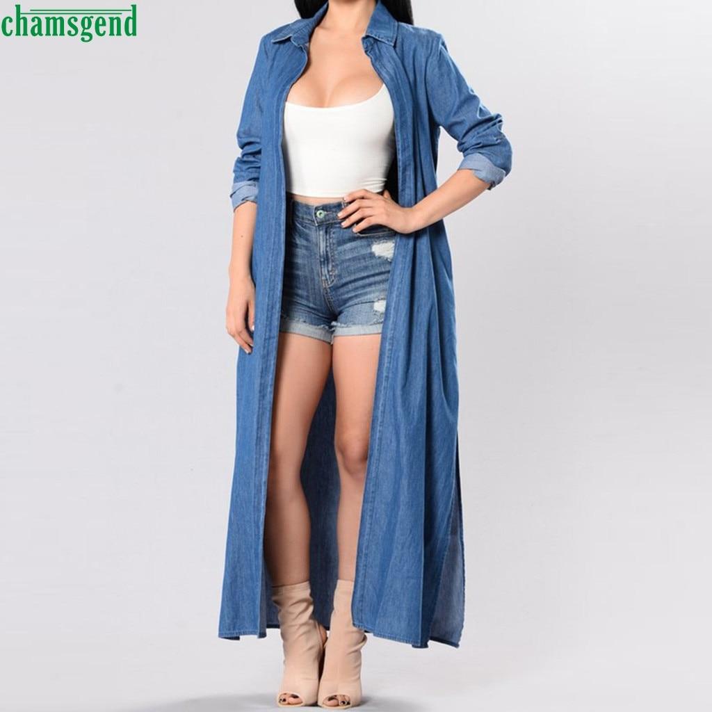 Chamsgend señoras Trenh Jeans Jumpsuit Europeo Americano mujer moda de manga larga Denim chaqueta cortavientos capa de abrigo largo