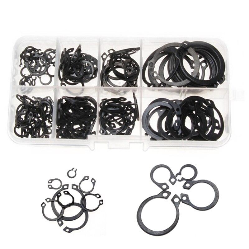 100/160Pcs External Retaining Circlips C-clip Washers Snap Retaining Ring Internal Circlip Carbon Steel M6-M25 Assortment Kit