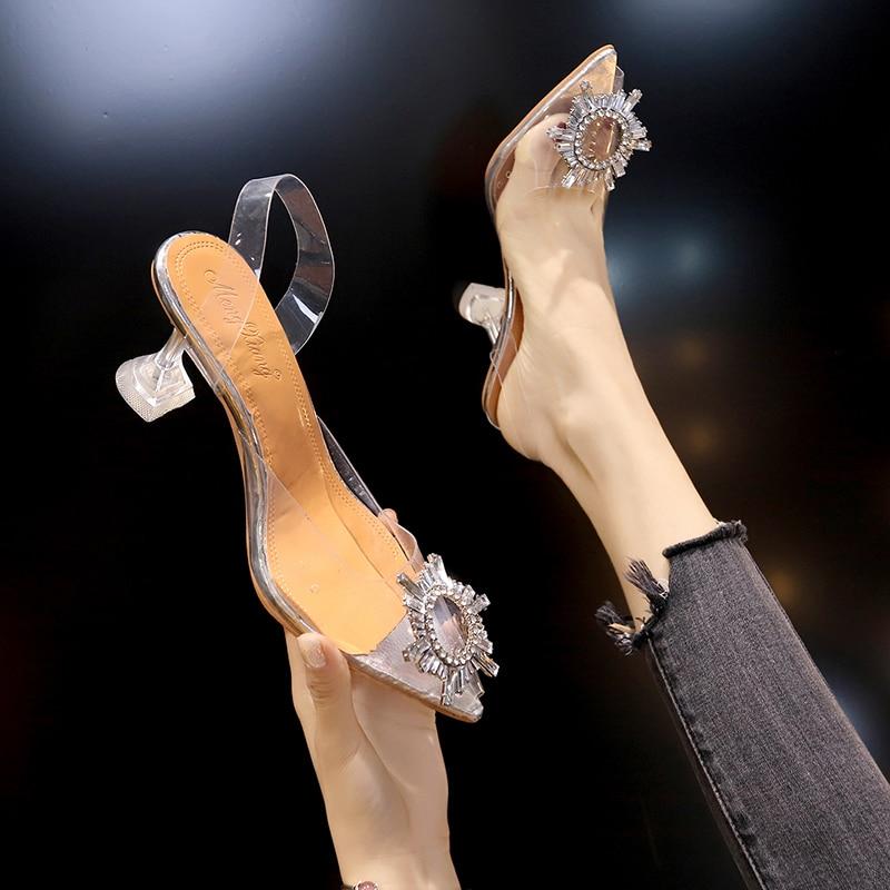Zapatos de tacón alto transparentes para mujer, calzado Sexy de punta estrecha,...