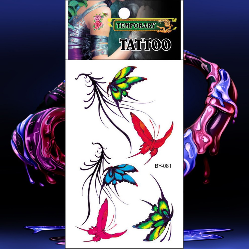 Tatuajes impermeables verde rojo azul mariposa tatuaje temporal etiqueta colorida tatuaje falso hombres mujeres tatuaje mano cuerpo brazo pecho