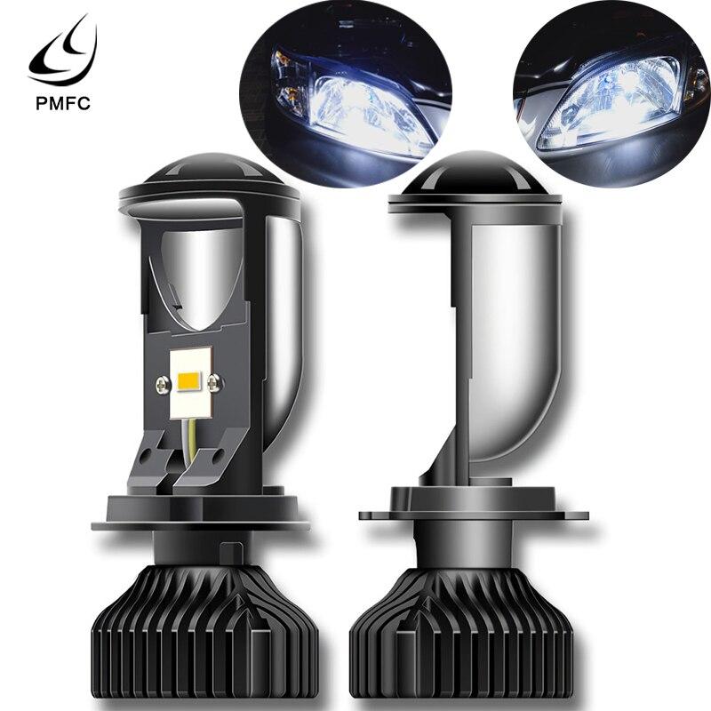 Faros LED PMFC 2 uds Canbus 90 W/Pair lámpara H4 Mini proyector lente Automobles bombilla 20000LM Kit de conversión Hi/Lo Beam 12V24V