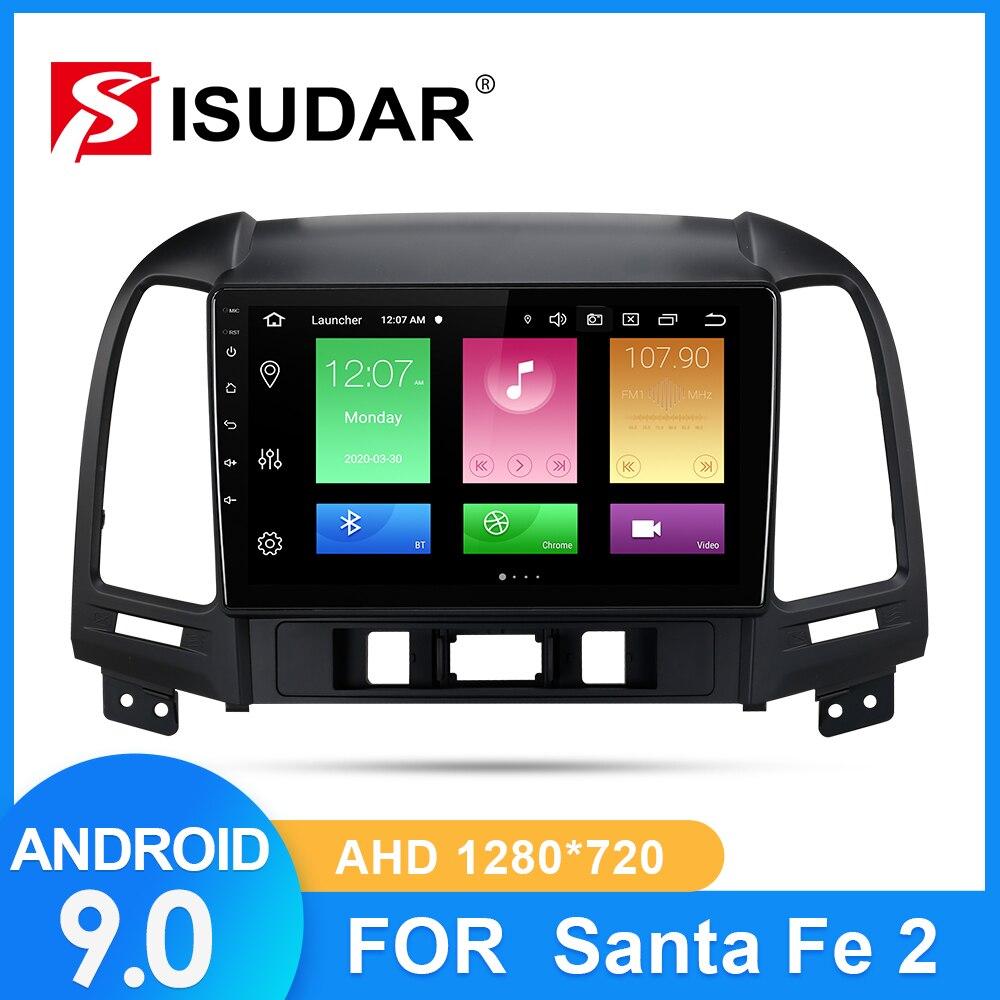 Rádio do carro de isudar para hyundai santa fe 2 2006-2012 2 din android 9 autoradio multimídia gps dvr ahd câmera ram 2gb rom 32gb usb