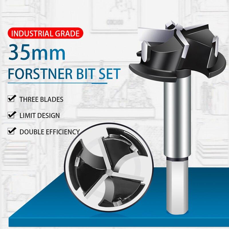 1-3/8 Inch Forstner Bit, Ø35mm Forstner Drill Bit for Wood, Drill Bits Round Shank,3-Cutter