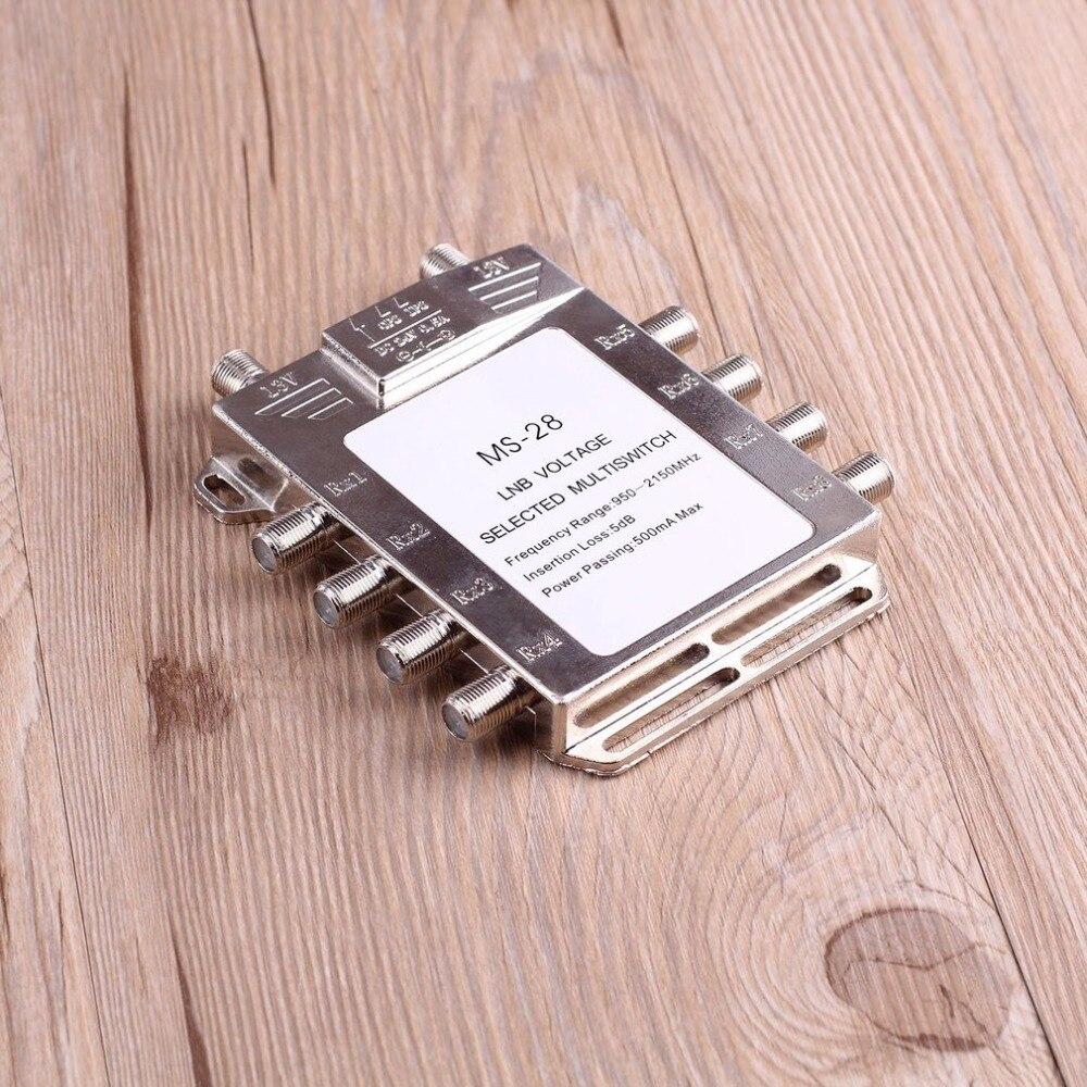 Portátil 2x8 señal de satélite multiinterruptor 950-2150 MHz LNB voltaje seleccionado interruptor de baja pérdida LNB receptor multiinterruptor