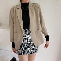 solid casual office loose blazer of7454 women long sleeve work wear suit jacket blazers 2020 notched collar pockets outwear coat