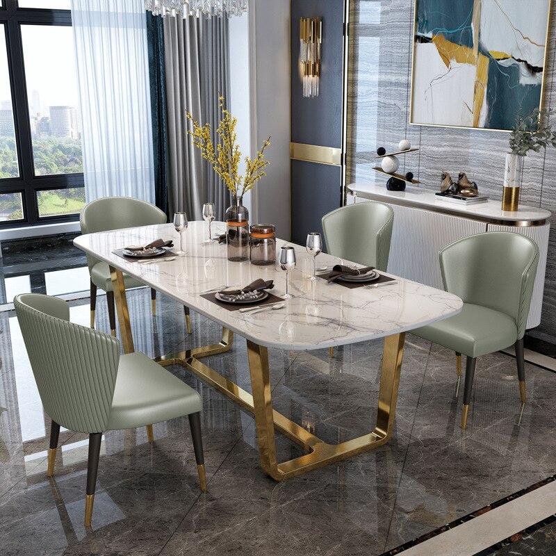 الشمال طاولة طعام من الرخام المنزلية الصغيرة وحدة تصميم بسيط الحديثة ضوء غرفة المعيشة الفاخرة روك لوحة طاولة الطعام