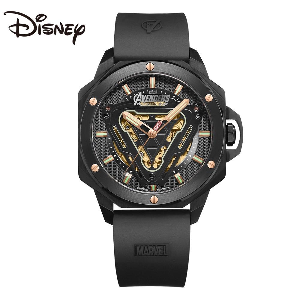 Disney Marvel Avenger Iron Man Hollowed Automatic Male Watch Men Bracelet Saphire Crystal Luminous Reloj Men Luxury Wristwatch