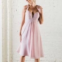 Simple A-line Short Wedding Party Dress Spaghetti Straps Pleated Chiffon Twisted Light Pink Bridesma