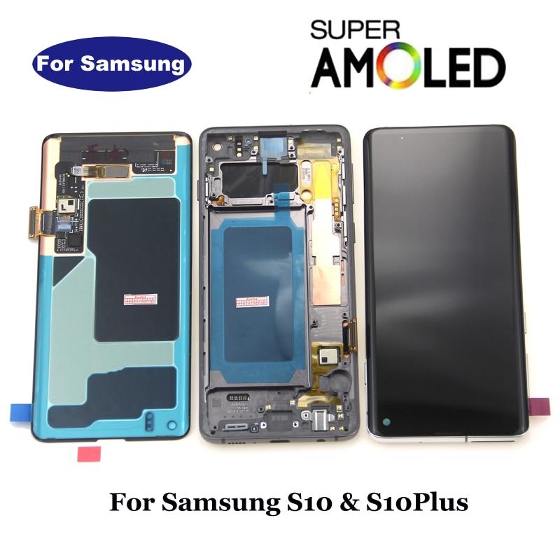 Amoled לסמסונג S10 LCD תצוגת G973F G973 לסמסונג גלקסי S10 בתוספת S10 + LCD G975 G975F מגע מסך digitizer