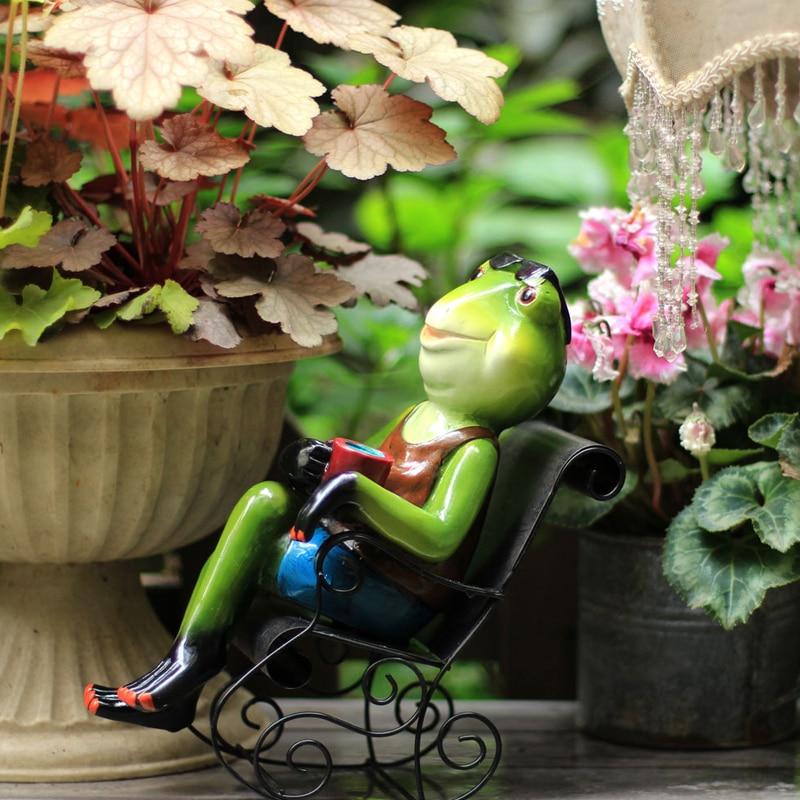 Exterior jardín Rana mecedora adorno para silla escultura de Animal en resina oficina en casa artesanía de escritorio figuritas de hada en miniatura de jardín