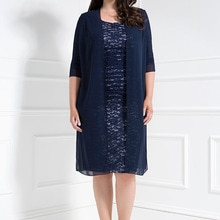 Navy Blue Mother Of The Bride Dresses Sheath Knee Length Lace With Jacket Plus Size Short Groom Moth