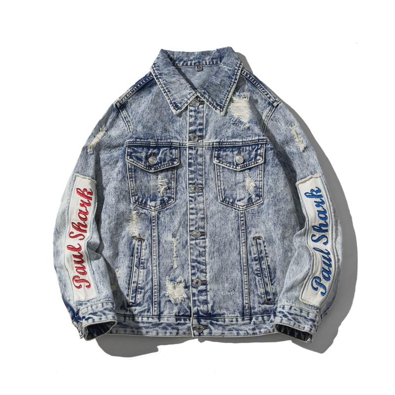Молодежная популярная Молодежная мужская куртка, модная рваная джинсовая куртка с принтом кошки и венчиков