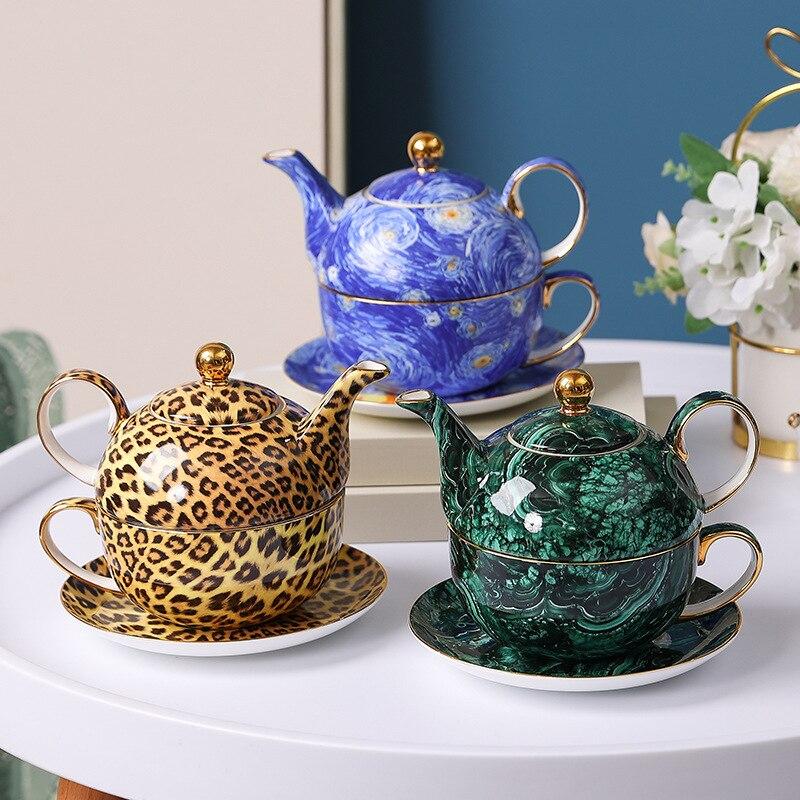 إبريق الشاي الخزف الفاخر مع فنجان القهوة الصحن العظام الصين درينكوير غلاية وعاء لشاي بعد الظهر أنيقة هدية للأصدقاء