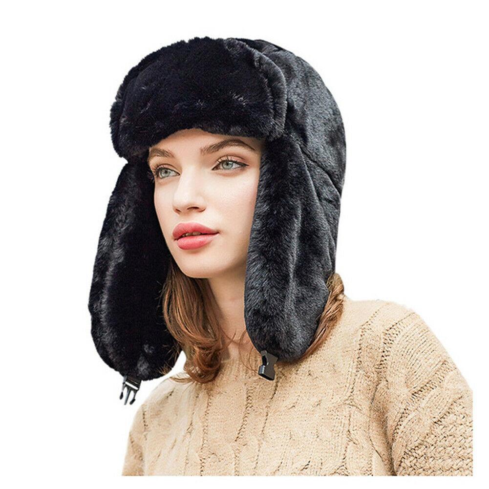 Женская меховая шапка бомбер новая модная пушистая теплая ветрозащитная из