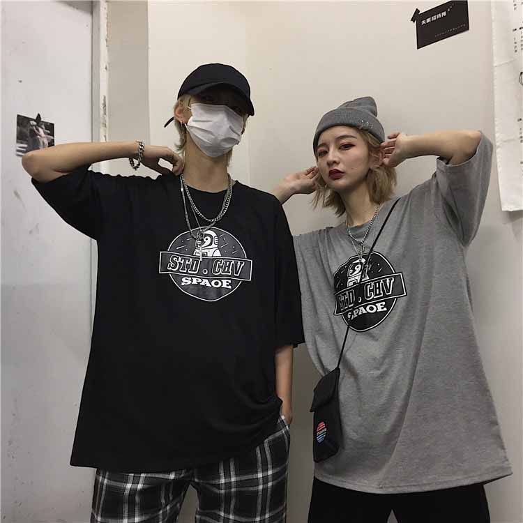 Summer New Korean Ins Retro Harajuku BF Style Gray Hip Hop Loose Short-Sleeved T-shirt Women's Shirt