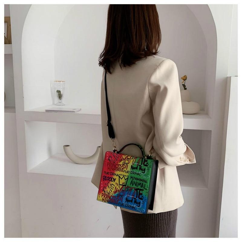 2019 New Vintage Temperament Graffiti Fashion  Small Square Bag Simple Famous Brand Bag Shoulder Messenger Bag Women Handbag