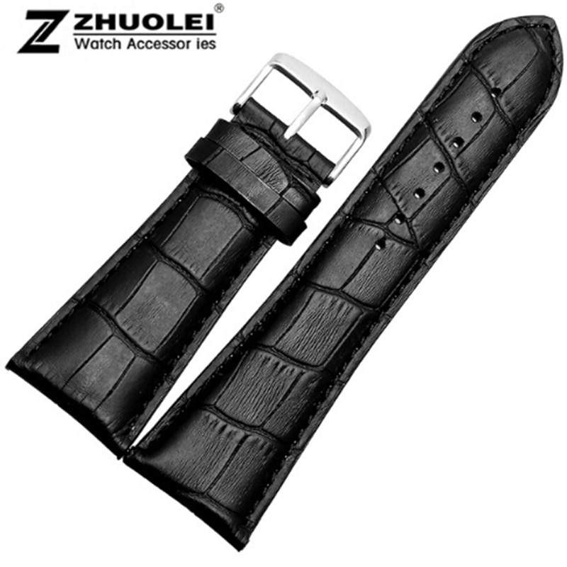 Bracelet de montre 23mm 24mm 26mm 28mm grande largeur noir marron hommes Alligator en cuir véritable bracelet de montre bracelet bracelets livraison gratuite