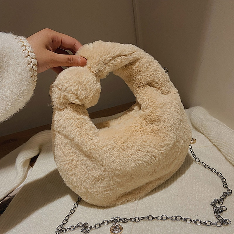 Solid Color Plush Lady Bag 2021 Winter New Handbags Brand Design Fashion Trend Shoulder Bags Cute Al