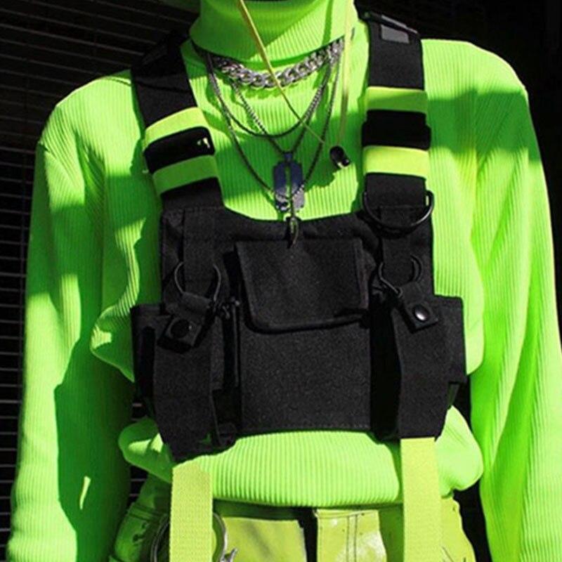 Bolsa de pecho funcional Hip Hop chaleco negro bolsas Unisex táctico Streetwear bolsa reflexivo cintura Packs Phone Pocket Kanye YB417