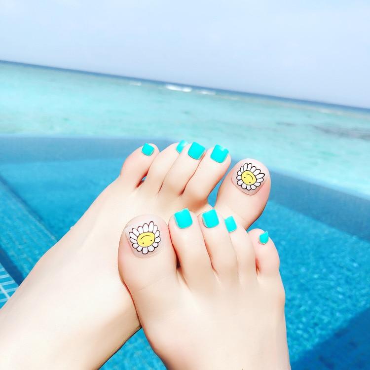 Sunflower Pattern  24 sheet/set Fake False Toenail Press on Tips Beach Summer Holiday Art Manicure Foot Wear Nails J79