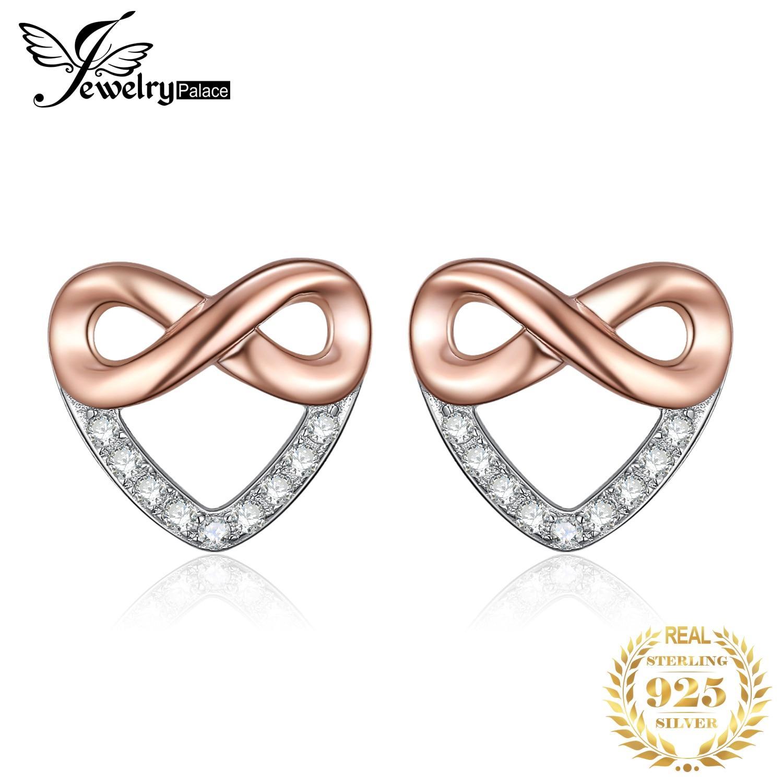 JewelryPalace infinito CZ Stud Earrings Rose Gold 925 Sterling Silver Earrings para mujeres niñas pendientes coreanos joyería de moda