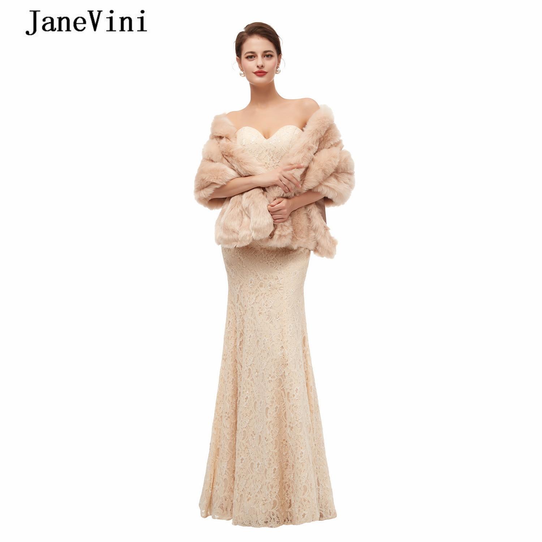 JaneVini معاطف زفاف شتوية أنيقة لعام 2020 للعرائس قبعة من الفرو الصناعي شال نسائي دافئ عباءة لحفلات الزفاف إكسسوارات بوليرو