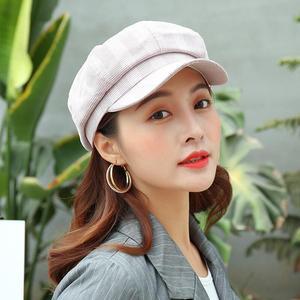 MISSKY Men Women Octagonal Hats Plaid Causal Retro Style All Match Octagonal Cap for Autumn Winter Female Male Caps