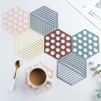 1pc silicone tableware insulation mat coaster cup hexagon mats pad heat insulated bowl placemat home decor desktop