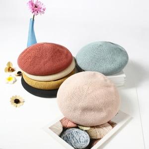 VISROVER 6 Colorways Summer Best Matched Beret Female Soft Spring Hat Solid Color Best Matched Women Boina Gift Wholesales