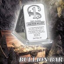 Barre de métal plaqué argent de qualité   Artisanat menthe de nord-ouest Territorial, Coin de monnaie en argent pour la Collection à la maison, Souvenir