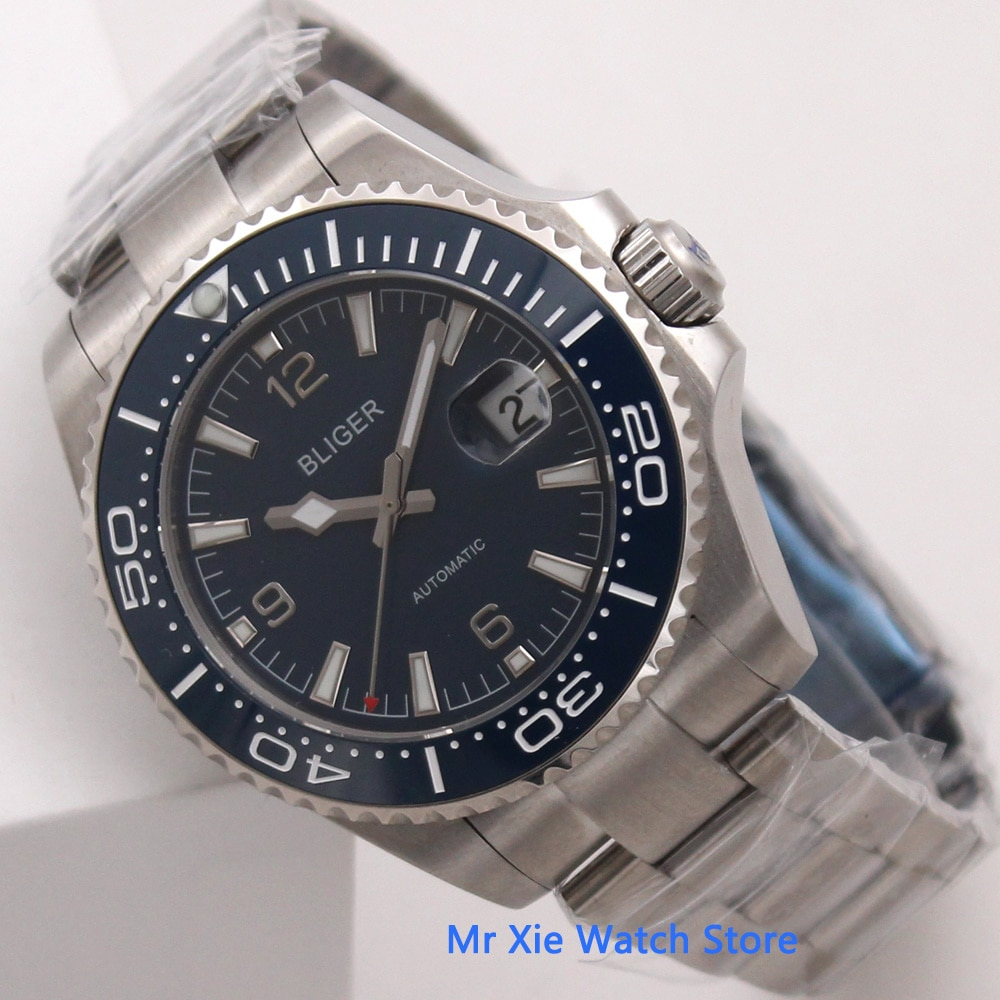 Bliger 43mm Blue Dial Mens Automatic Watch Sapphire Glass Date Waterproof Luminous Mechanical Watch