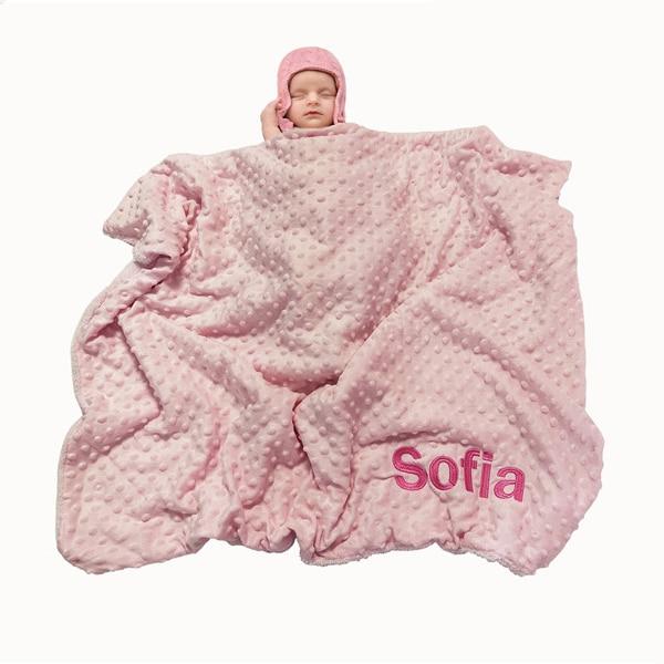 Name Personalised Newborn Baby Blanket Swaddling Baby Gift Bedding Set Swaddle Berber Bubble Toddler Crib Bed Stroller Blanket