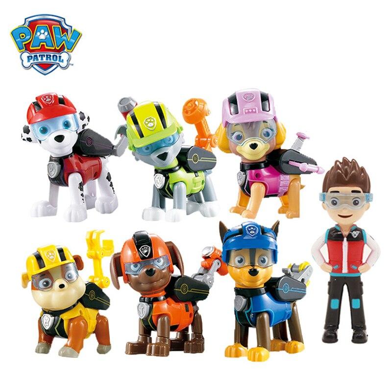 7 unids/set patrulla canina Anime acción figura muñecas conjunto misión garra Ryder Marshall Skye escombros Rocky Chase Zuma modelo juguetes niños regalo