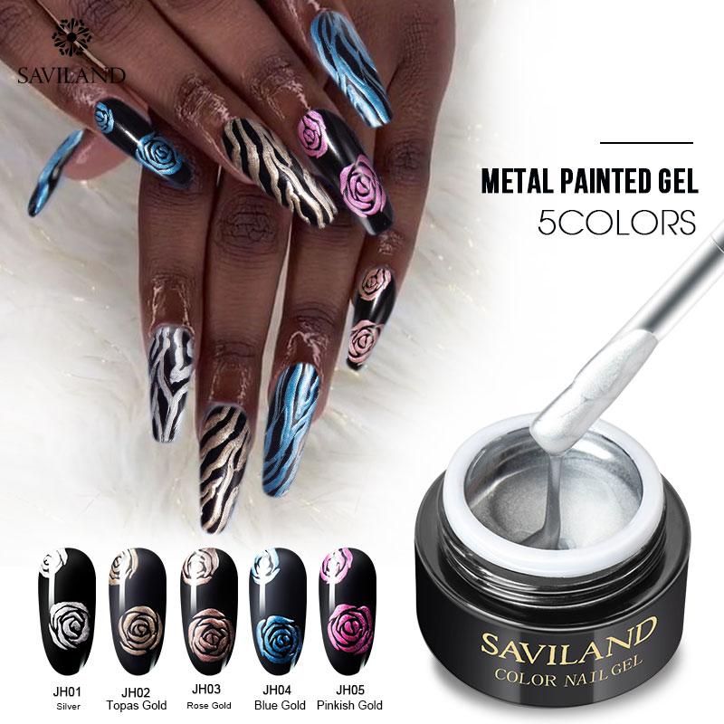 Saviland 1pcs UV Gel 3D Painting paint polish Nail Art Paint Drawn Glitter 12 Color Acrylic Nail Art Bio Gel polish