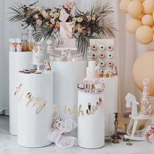 Большой цилиндрический выставочный стенд, художественный декор, плинсы, колонны, торт, стол для «сделай сам», свадебное украшение, праздник