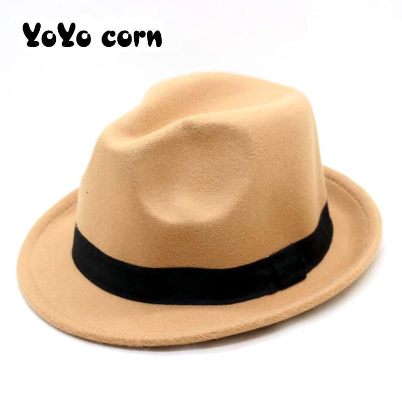 Wide Brim pin Black Flat Brim Felt Jazz Hat Autumn Winter Bowler Hats for Women Men prom Party cap Solid color Gorra Ladies hat