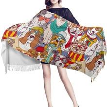 Cartoon Pet Dog Blanket Shawl Woolwoolen For Women Designer Cashmere Scarves Mexican Wedding Fashion Evening Spring Rebozo Ponch