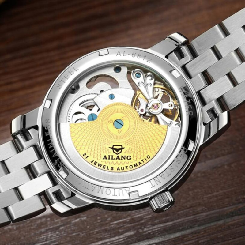 AILANG Automatic Mechanical Men's Watch Stainless Steel Hollow Tourbillon Leisure Fashion Sports Waterproof Business Watch 6812 enlarge