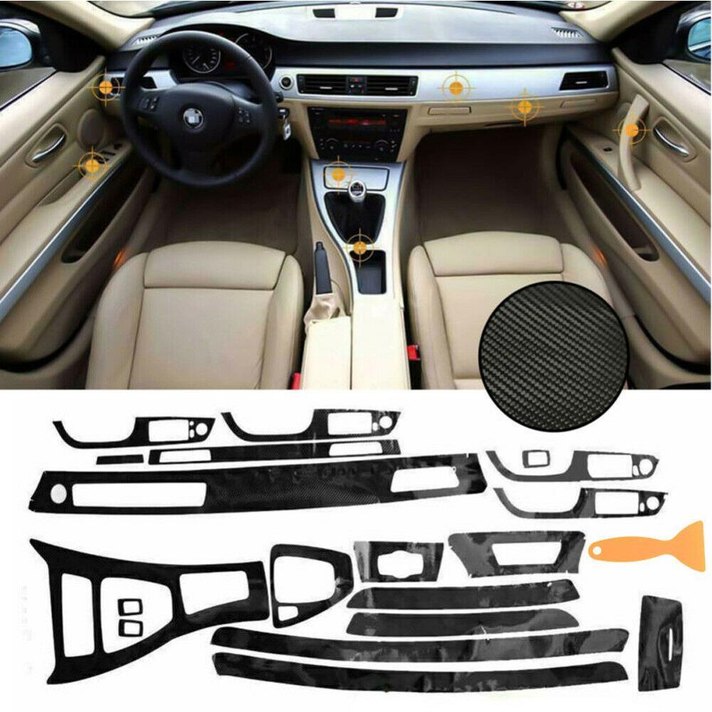 OLOMM nueva 5D Interior brillante fibra de carbono envoltura embellecedora Calcomanía para BMW Serie 3 E90 2005-13