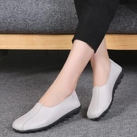 new 2021 womens comfortable round flats shoes womans light versatile outdoor walking shoes plush warm mom loafers shoes 41 42